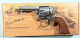 "TAYLOR'S & CO. BY UBERTI RUNNIN IRON 1873 SAA SINGLE ACTION .45 LONG COLT 3 1/2"" STAINLESS REVOLVER NEW IN BOX."