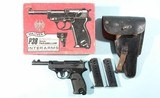 WALTHER P38 P-38 9MM PISTOL IN INTERARMS BOX WITH HOLSTER & TWO MAGS.