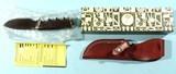 "GERBER MODEL 100 EBONY 4"" SKINNING KNIFE W/LEATHER SHEATH IN ORIG. BOX CA. 1970'S-80'S."