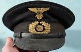 WW2 GERMAN KRIEGSMARINE ENLISTED VISOR CAP WITH IRON CROSS/EAGLE & WREATH.