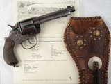 COLT MODEL 1878 DOUBLE ACTION .45 LONG COLT CAL. 5 1/2' REVOLVER W/1892 SAN FRANCISCO, CALIFORNIA FACTORY LETTER AND ORIGINAL PERIOD HOLSTER.