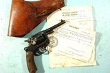 WW2 FRENCH ST. ETIENNE MODEL 1892/21 D.A. 8MM ORDNANCE REVOLVER W/HOLSTER AND 92ND CAVALRY RECONNAISSANCE SQUADRON CAPTURE PAPERS.