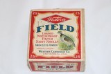 Western FIELD, 12 Ga, 2pc., FULL, Shot Size 7.5, buff box with multi colored label with Quail in the grass