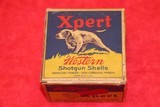 Western Xpert, 20ga., 1pc., FULL, blue, yellow & red box with dog on point, Loading: 2 1/4'', Shot Size 6