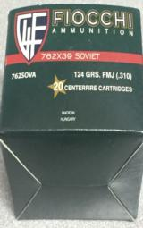 Fiocchi 7.62x39 Soviet 124gr FMJ Brass Cased Ammunition