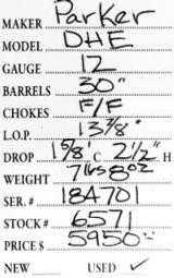 Parker DHE 12 Gauge - 5 of 5