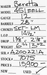 Beretta 451 EELL 12 Gauge - 9 of 9