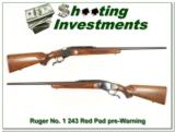 Ruger No. 1 B Sporter 243 Pre-Warning Exc Cond! - 1 of 4