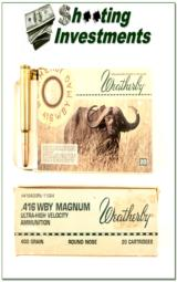 Weatherby 416 Wthy Magnum factory ammo 400 grain Round Nose