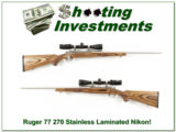 Ruger 77 Stainless Laminate 270 with Nikon!