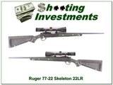 """Ruger 77/22 """"Skeleton"""" Zytel stock green insert Nikon scope"""