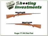 Ruger 77 Red Pad 243 with Redfield near NEW! - 1 of 4