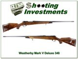 Weatherby Mark V Deluxe 340 Weatherby Magnum as new!