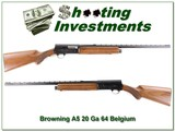 Browning A5 64 Belgium 20 Gauge near new 26in IC VR