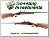 Ruger No.1 Red Pad Pre-Warning 22-250 Remington