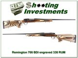 Remington 700 BDL 338 RUM engraved Thumbhole