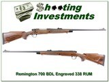 Remington 700 BDL Engraved 338 RUM Exc Cond