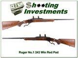 Ruger No.1 B Red Pad 243 Winchester 26in barrel