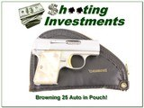 25 Auto Baby Browning .25 Nickel 67 Belgium in Pouch - 1 of 4