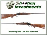 Browning 1885 Low Wall 22 Hornet Exc Cond - 1 of 4