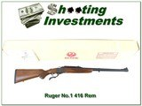 Ruger No.1 Tropical in 416 Remington unfired in box - 1 of 4
