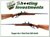 Ruger No.1 B 26in Red Pad in hard to find 220 Swift! - 1 of 4