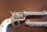Colt SAA 5 1/2in .45 100% Coverage Cattle Brand Engraved by Bledsoe Consecutive pair - 6 of 10