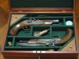 Replication of an Antique ca.1850 .45 cal. Cased Dueling Pistol Set. (CVA)
