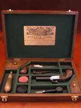 Recreation of an English Antique .44 cal. Screw Barrel Blackpowder Pedersoli Liegi Darringer Pistol Cased Set - 2 of 10