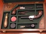 Recreation of an English Antique .44 cal. Screw Barrel Blackpowder Pedersoli Liegi Darringer Pistol Cased Set - 1 of 10