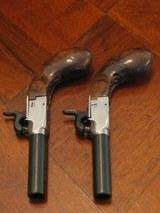 Recreation of an English Antique .44 cal. Screw Barrel Blackpowder Pedersoli Liegi Darringer Pistol Cased Set - 4 of 10
