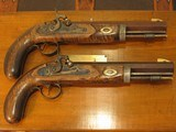 Antique Recreated English Style .50 cal. Black Powder Muzzle Loading Hawken Dueling Pistol Cased Set - 4 of 9