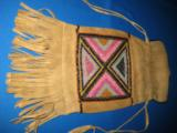 Mandan Sioux Beaded Tobacco Bag circa 1900 Original - 3 of 10