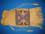 Mandan Sioux Beaded Tobacco Bag circa 1900 Original - 6 of 10