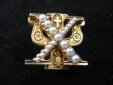 Skull & Bones 14kt Gold Fraternal Pin w/Seed Pearls - 2 of 10