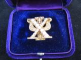 Skull & Bones 14kt Gold Fraternal Pin w/Seed Pearls - 8 of 10
