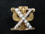 Skull & Bones 14kt Gold Fraternal Pin w/Seed Pearls - 1 of 10