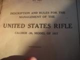 U.S. Model 1917 Rifle WW1 Ordnance Dept. Manual Original dated 1918 - 3 of 11