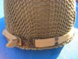 U.S. WW2 Model M1 Combat Helmet Front Seam Fixed Bale w/Invasion Netting - 9 of 15