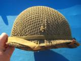 U.S. WW2 Model M1 Combat Helmet Front Seam Fixed Bale w/Invasion Netting - 1 of 15