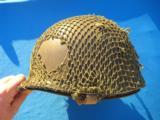 U.S. WW2 Model M1 Combat Helmet Fixed Bale Front Seam w/Invasion Netting - 2 of 11