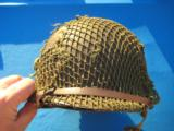 U.S. WW2 Model M1 Combat Helmet Fixed Bale Front Seam w/Invasion Netting - 5 of 11