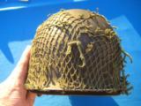 U.S. WW2 Model M1 Combat Helmet Fixed Bale Front Seam w/Invasion Netting - 6 of 11