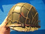 U.S. WW2 Model M1 Combat Helmet Swivel Bail Front Seam w/Netting Unit Marked - 4 of 14
