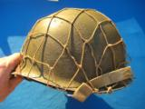 U.S. WW2 Model M1 Combat Helmet Swivel Bail Front Seam w/Netting Unit Marked - 1 of 14