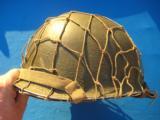 U.S. WW2 Model M1 Combat Helmet Swivel Bail Front Seam w/Netting Unit Marked - 2 of 14