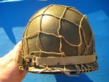 U.S. WW2 Model M1 Combat Helmet Swivel Bail Front Seam w/Netting Unit Marked - 3 of 14