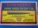 Winchester Super Speed 30 GOV'T 06 Full Box 180 gr. Exp.Pt. K Code