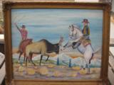 Harry G. Bentz Painting Oil on Board Montana Folk Art - 1 of 7