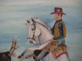 Harry G. Bentz Painting Oil on Board Montana Folk Art - 5 of 7